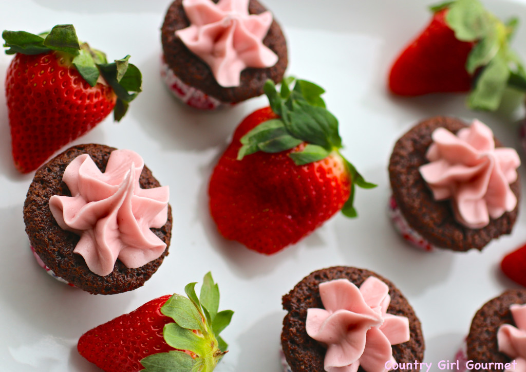 Brownie Bites with Berry Buttercream