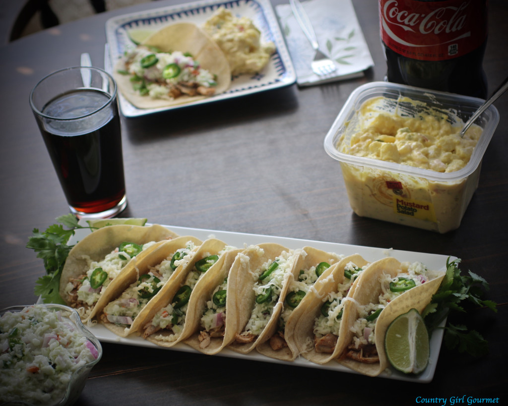 Easy Carolina Pulled Chicken Tacos with Jalapeño Coleslaw