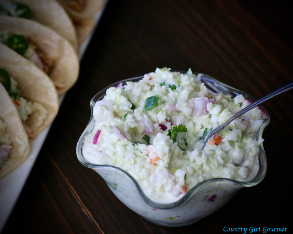 Easy Carolina Pulled Chicken Tacos with Jalapeño Coleslaw | Country Girl Gourmet
