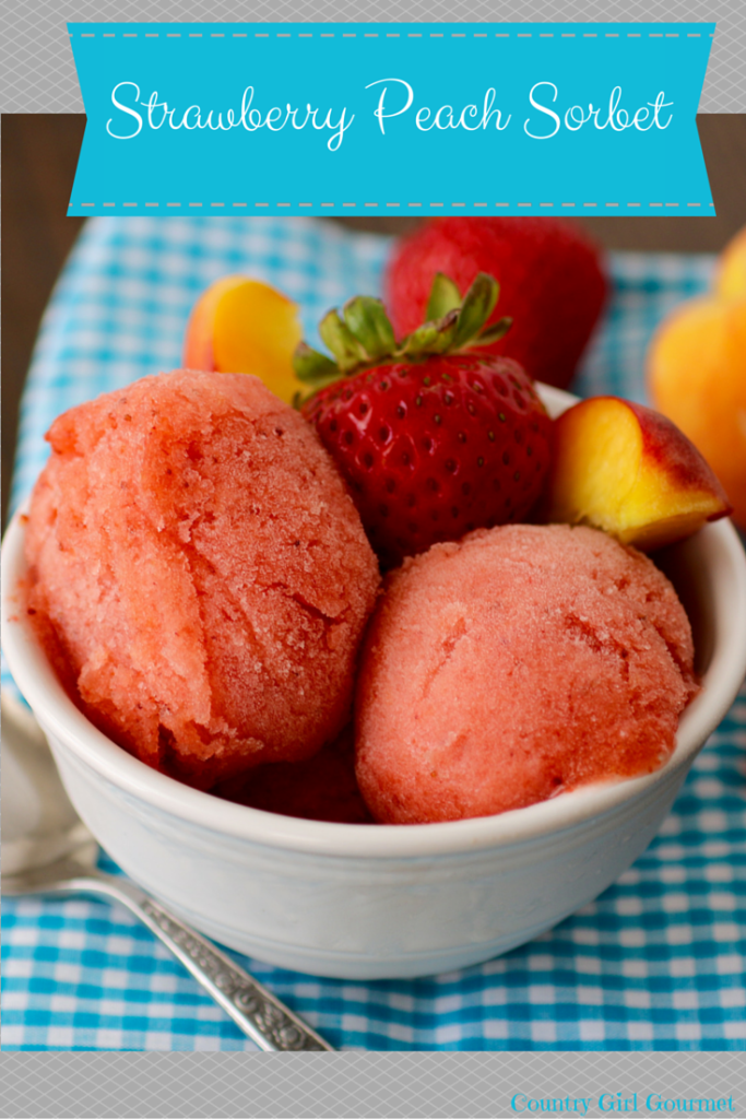 Strawberry Peach Sorbet | Country Girl Gourmet