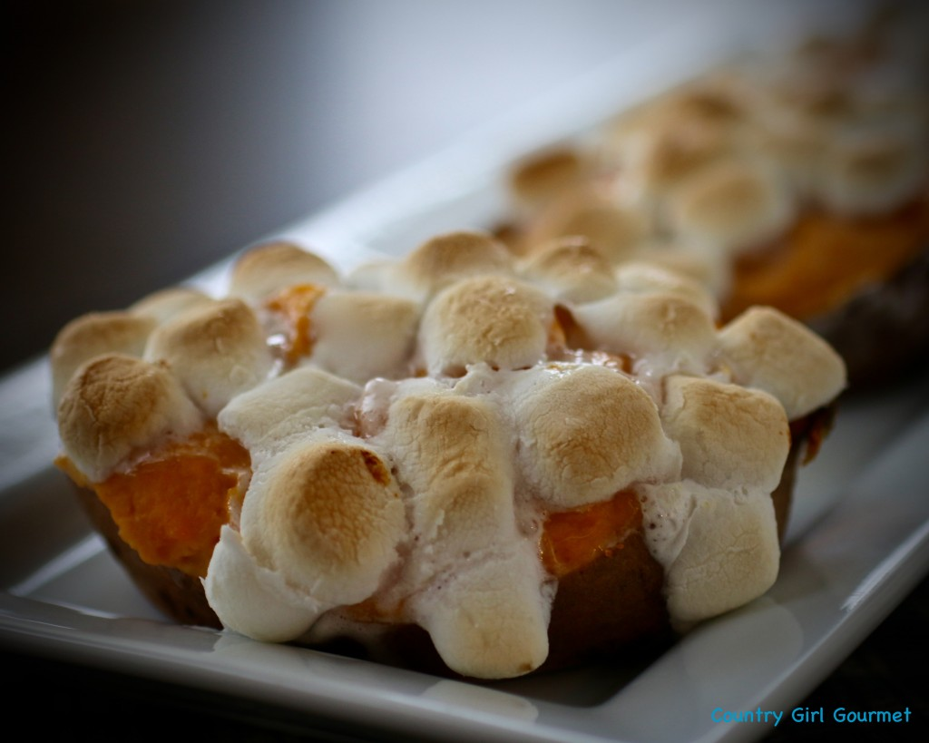 Twice Baked Sweet Potatoes with Browned Butter and Toasted Marshmallow | Country Girl Gourmet